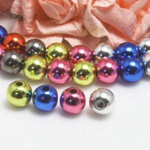 Beads, Imitation Metal Beads, Acrylic, Assorted colours, Spherical, Diameter 8mm, 8g, 25 Beads, (SLZ0590)